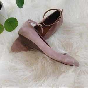 Beautiful blush Madewell ankle strap mini wedges